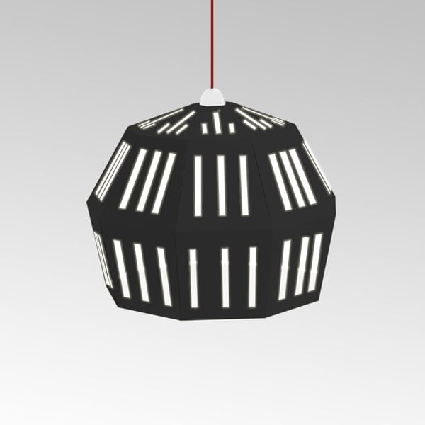 Kartónové svietidlo Uno Fantasia C Black, s červeným káblom
