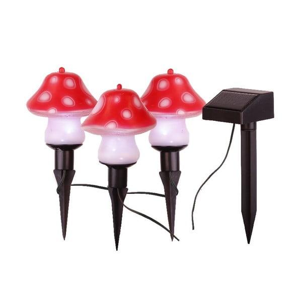 Sada 3 svetelných záhradných dekorácií Best Season Mushroom