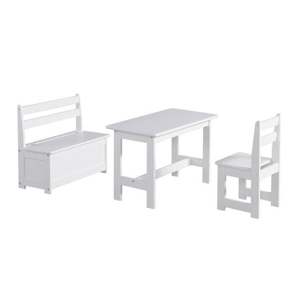 Biely detský stolček zmasívneho borovicového dreva Pinio Baby