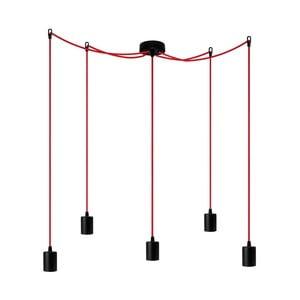 Závesné svietidlo s 5 červenými káblami Bulb Attack Cero