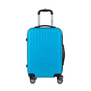 Tyrkysovomodrý cestovný kufor na kolieskách s kódovým zámkom SINEQUANONE Iskra, 44 l