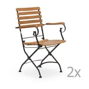 Sada 2 čiernych záhradných stoličiek z agátového dreva s opierkami na ruky SOB