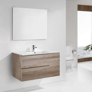 Kúpeľňová skrinka s umývadlom a zrkadlom Happy, dekor dubu, 100 cm