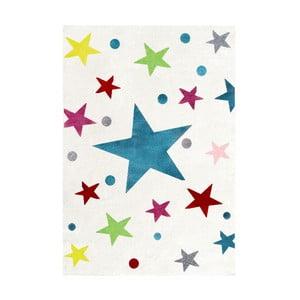 Biely detský koberec s farebnými hviezdami Happy Rugs Stars, 160×230cm