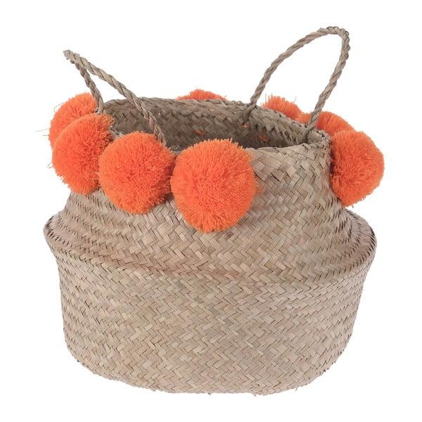 Pletený košík Orange Pom Pom