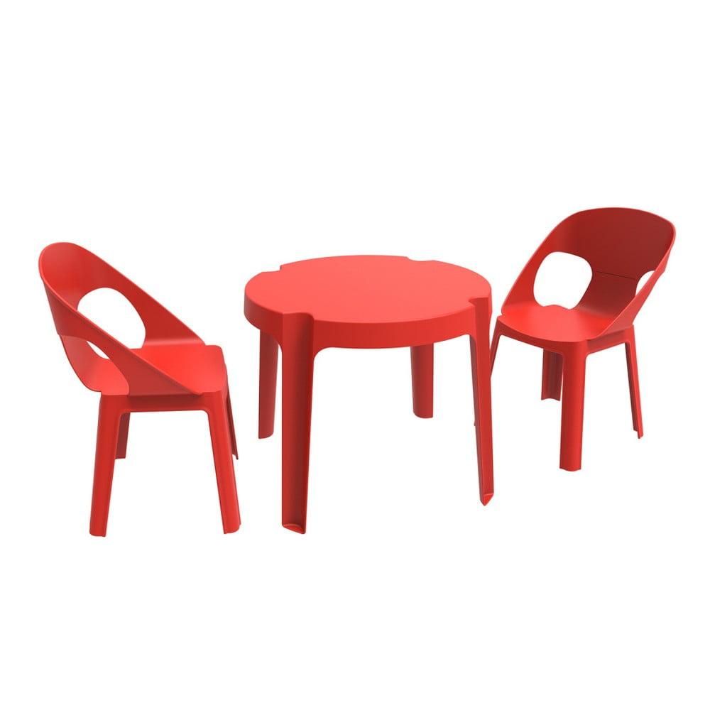 Červený detský záhradný set 1 stola a 2 stoličiek Resol Julieta