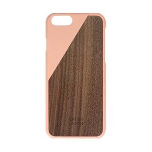 Svetloružový obal na mobilný telefón s dreveným detailom pre iPhone 6 a 6S Native Union Clic Wooden Light