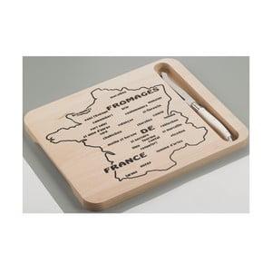 Drevená doska s nožom na syry s motívom mapy Francúzska Jean Dubost