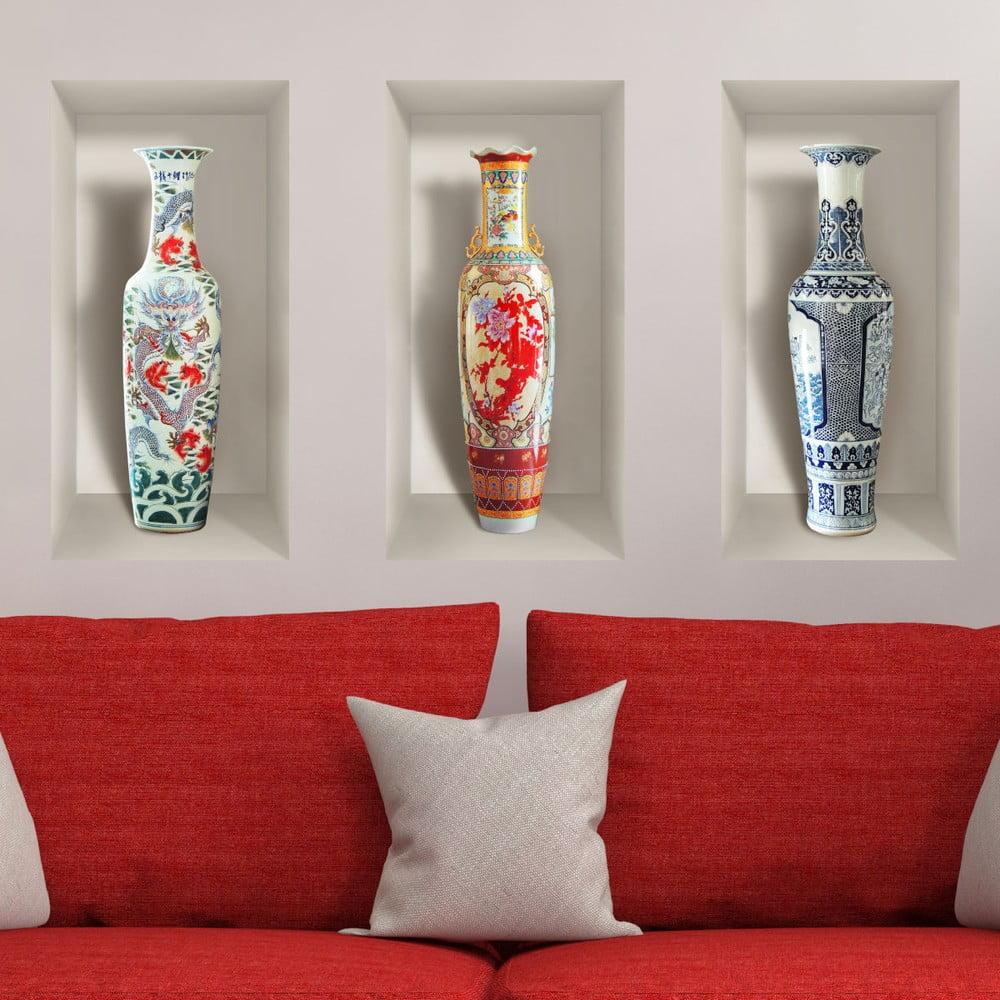 Sada 3 3D samolepiek na stenu Ambiance Ceramic Vases