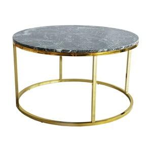 Zelený mramorový konferenčný stolík s podnožou v zlatej farbe RGE Accent, ⌀ 85 cm