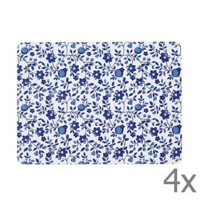 Sada 4 prestieraní Kitchen Craft Blue Flower, 21 x 29 cm