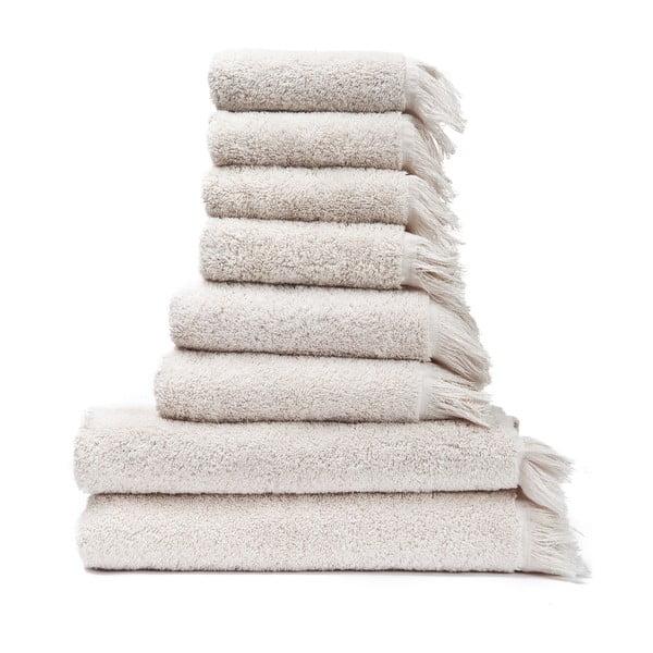 Set 6 krémových bavlnených uterákov a 2osušiek Casa Di Bassi Bath