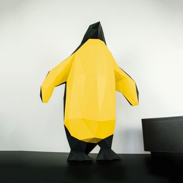 Papierová socha Tučniak, čierno-zlatý