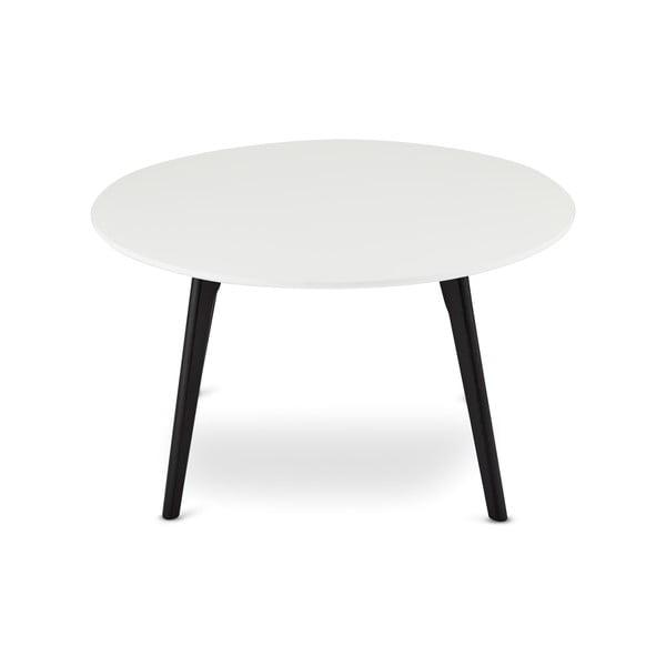 Čierno-biely konferenčný stolík s nohami z dubového dreva Furnhouse Life, Ø 80 cm
