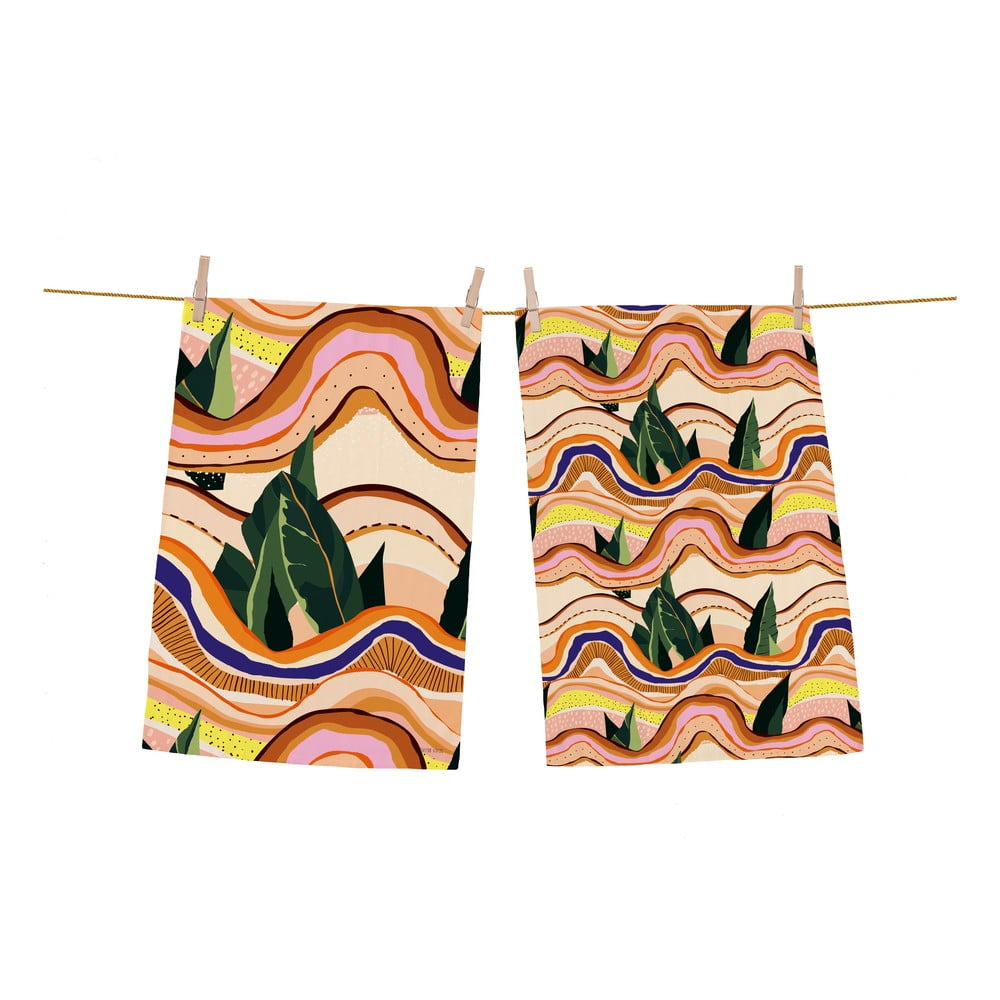 Súprava 2 bavlnených kuchynských utierok Butter Kings Abstract Landscape, 70 x 50 cm