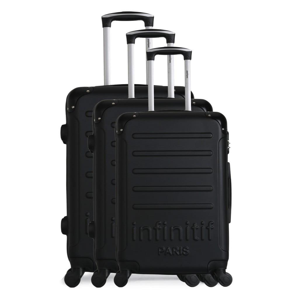 Sada 3 čiernych cestovných kufrov na kolieskach Infinitif Horten-A