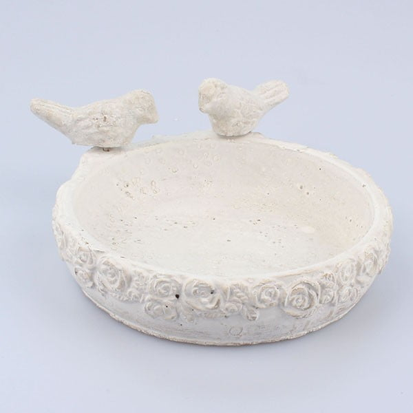 Sivá betónová nádoba na vodu pre vtáčiky Dakls III