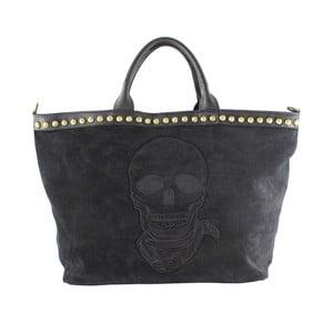 Kožená kabelka Skull, čierna