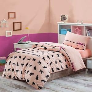 Obliečky s plachtou na jednolôžko Cats, 160 x 220 cm