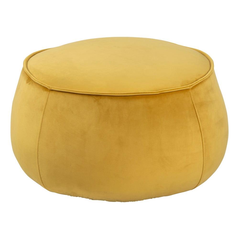 Žltý puf so zamatovým povrchom Actona Mie, ⌀ 60 cm