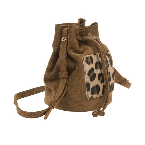 Semišový batoh O My Bag Leopard, béžový