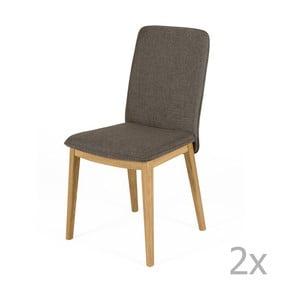 Sada 2 jedálenských stoličiek s podnožou z dubového dreva Woodman Adra Naturo Dark