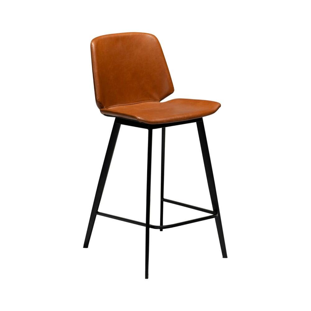 Koňakovohnedá barová stolička z eko kože DAN–FORM Denmark Swing