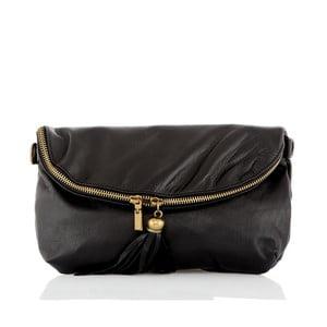 Čierna kožená listová kabelka Glorious Black Siby
