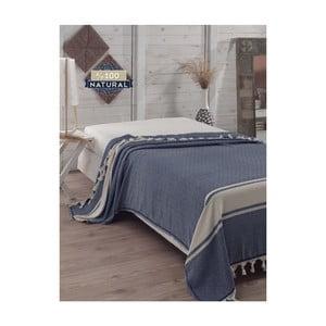 Tmavomodrý bavlnený pléd cez posteľ Elmas Dark Blue, 200 x 240 cm
