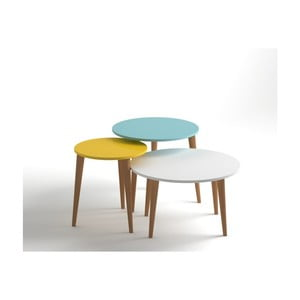 Sada 3 konferenčných stolíkov v žltej, modrej a bielej farbe Monte Roma
