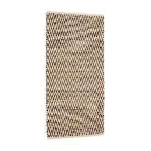 Hnedý koberec z juty a kože Simla, 140 × 70 cm