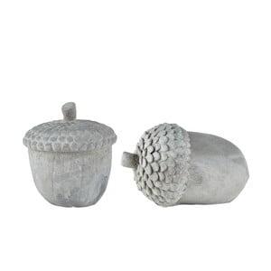 Sada 2 sivých dekoratívnych sošiek KJ Collection Cone II