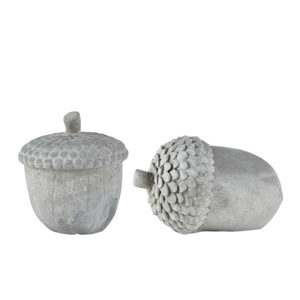 Sada 2 sivých dekoratívnych cementových sošiek KJ Collection Cone II