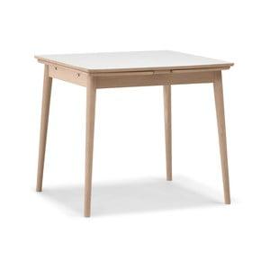 Rozkladací jedálenský stôl s bielou doskou WOOD AND VISION Curve, 82 × 82 cm