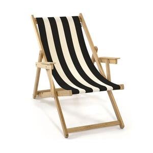 Skladacie ležadlo Beach, čierne prúžky