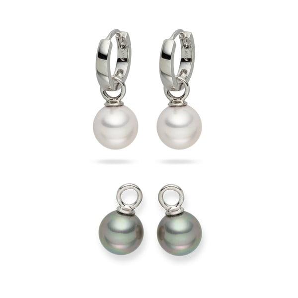 Sada 2 perlových náušníc Nova Pearls Copenhagen Catherine White/Silver
