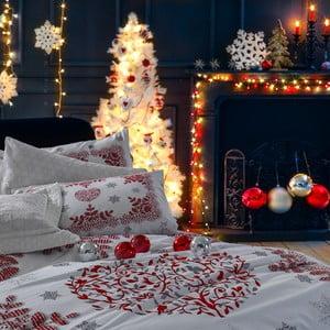Vianočné bavlnené obliečky na dvojlôžko s plachtou Giulia, 200×220 cm