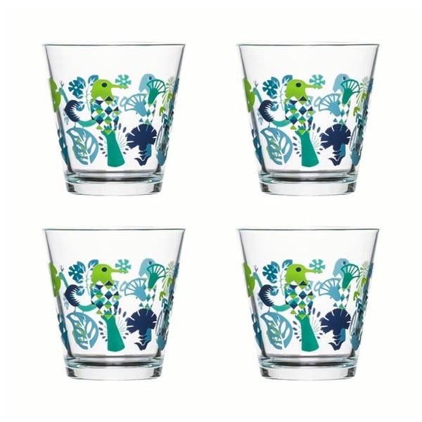 Sada 4 pohárov Fantasy 200 ml, zelená