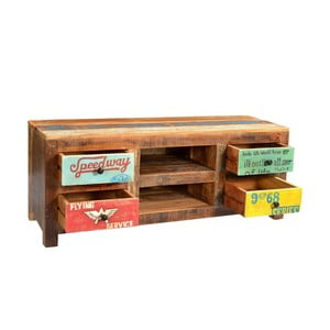 Televízny stolík z recyklovaného dreva SOB Racetrack