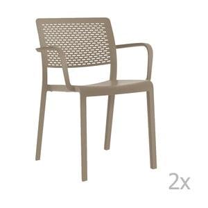Sada 2 béžových záhradných stoličiek sopierkami Resol Trama