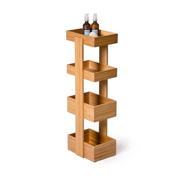 Štvorposchodový stojan do kúpeľne Wireworks Caddy Bamboo