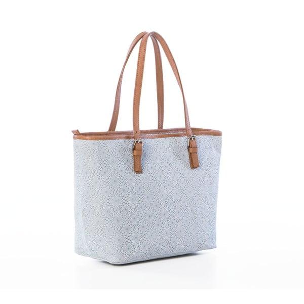 Bielo-sivá kožená kabelka Federica Bassi Girandola