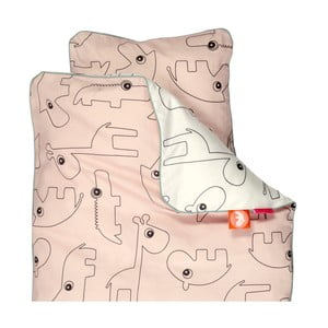 Detské ružové obliečky Done By Deer Contour, 100×135cm