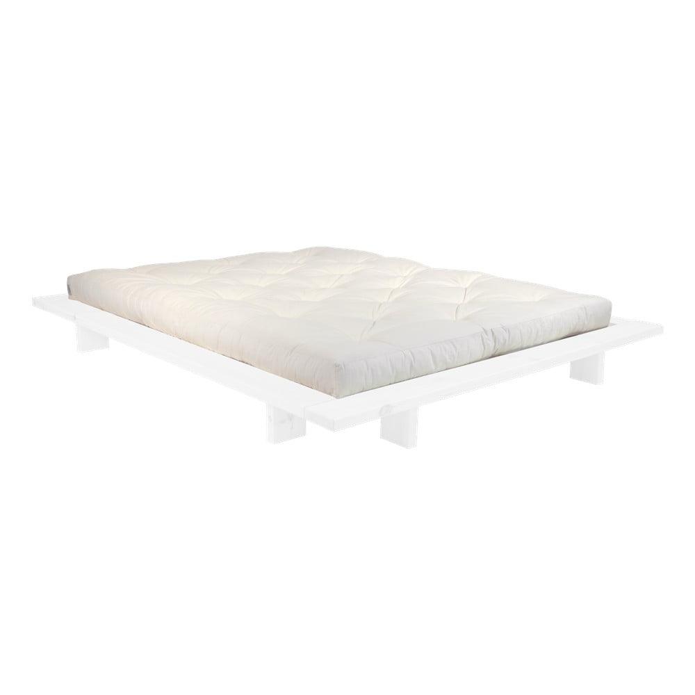 Dvojlôžková posteľ z borovicového dreva s matracom Karup Design Japan Double Latex White/Natural, 160 × 200 cm
