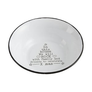 Biela kovová miska J-Line Xmass, ⌀18 cm