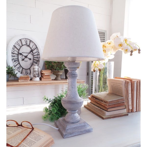 Stolná lampa Grey Antique, 25x47 cm