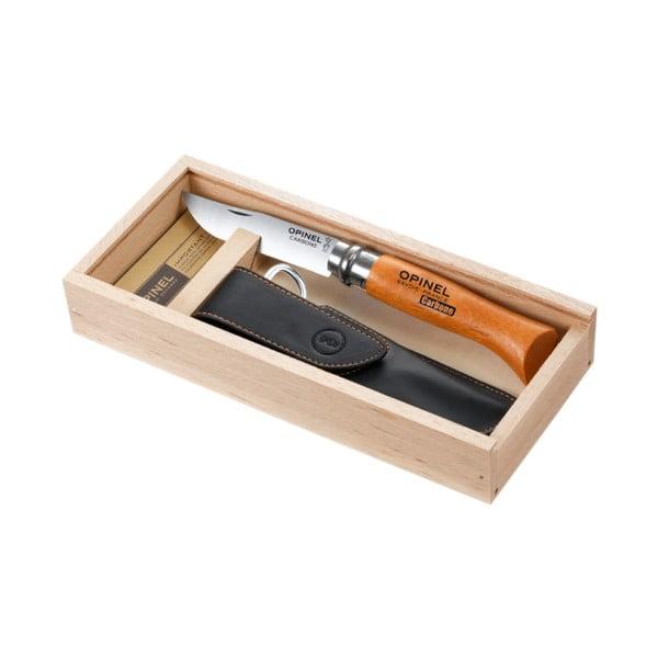 Darčekový set - skladací nôž Carbon No.8 a kožené puzdro