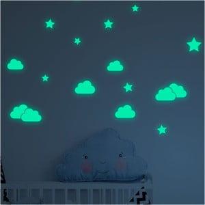 Sada nástenných detských svietiacich samolepiek Ambiance Clouds and Stars