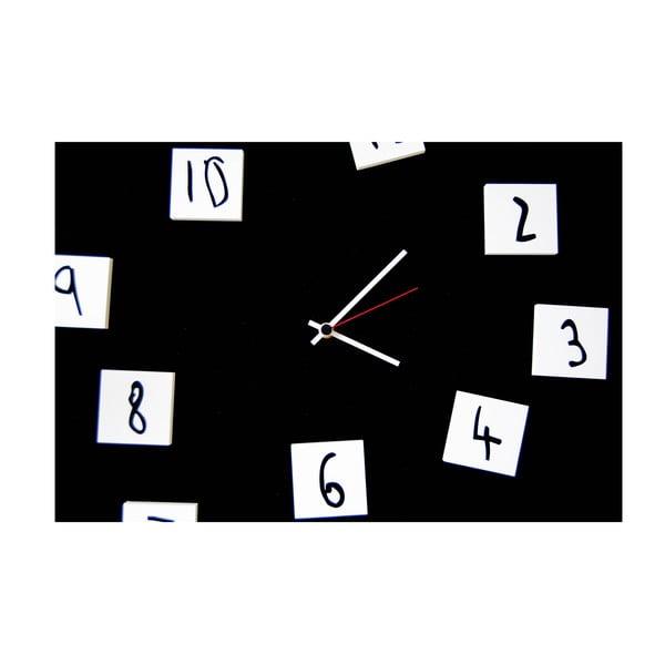 Nástenné hodiny dESIGNoBJECT.it Changing Clock Black, 50 x 50 cm