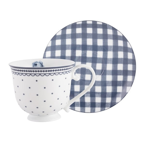 Porcelánový hrnček s tanierikom Creative Tops Vintage Indigo, 200 ml